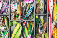 Fishing lures and accessories in the box Royalty Free Stock Photos