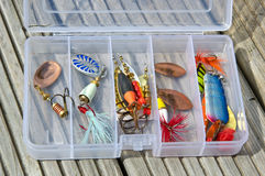 Fishing lures in box Royalty Free Stock Images