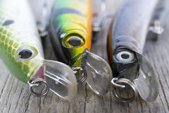 Fishing lures close up Royalty Free Stock Images