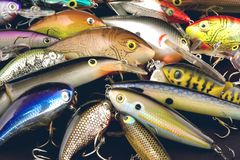 Fishing Lures Detail. This is a close up view of a variety of bass fishing lures Royalty Free Stock Photos