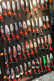 Fishing lures on display Stock Photography