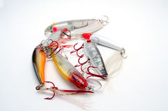 Fishing Lures. A group of colorful fishing lures with treble hooks Stock Photography
