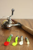 Fishing lures, rod and reel Royalty Free Stock Photo