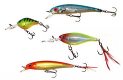 Fishing lures. Set of 4 fishing lures isolated on white background stock images