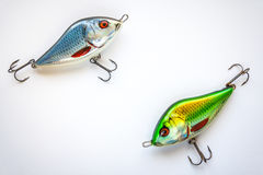 Fishing lures on white Royalty Free Stock Image