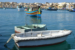 Fishing luzzu boats in Malta Royalty Free Stock Photos
