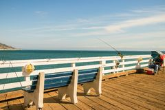 Fishing at Malibu Pier, Malibu. Fishing at Malibu Pier. Beautiful sunny day Stock Image