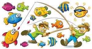 Fishing Man. Cartoon illustration of man fishing the fish at summer holiday Royalty Free Stock Image