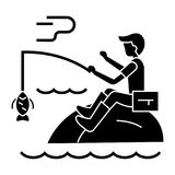 Fishing man with rod icon, vector illustration, black sign on isolated background Royalty Free Stock Photo