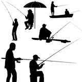 Fishing man silhouette vector. Silhouette of a man fishing isolated on white background Royalty Free Stock Photo