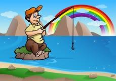 fishing man on small island Stock Photo