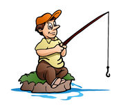 fishing man on small island on isolated white background Stock Images