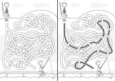 Fishing maze. For kids with a solution in black and white Stock Photos