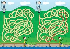 Fishing maze. For kids with a solution Royalty Free Stock Photography