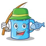 Fishing measuring cup character cartoon. Vector illustartion Stock Image