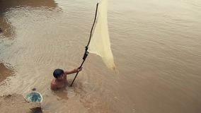 Fishing , mekong, cambodia Royalty Free Stock Image