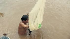 Fishing , mekong, cambodia Stock Photo