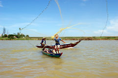 Fishing on the mekong river Royalty Free Stock Photos