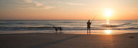 Fishing in Melbourne Beach Royalty Free Stock Images