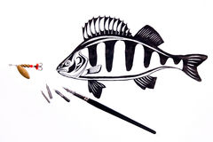 Fishing metal bait and fountain pen with ink drawing fish. Royalty Free Stock Image
