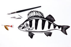 Fishing metal bait and fountain pen with ink drawing fish. Stock Photography