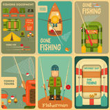 Fishing. Mini Posters Set: Fisherman and Equipment for . Layered file. Vector illustration Stock Photo