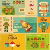 Fishing. Mini Posters Set: Fisherman and Equipment for . Layered file. Vector illustration Stock Image