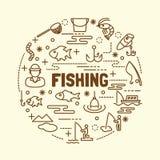 Fishing minimal thin line icons set Royalty Free Stock Photos