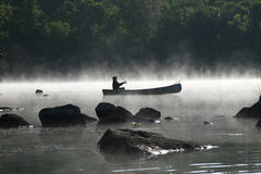 Fishing on a Misty Morning royalty free stock images
