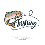 Fishing. Modern hand drawn lettering phrase. Fishing logo. Hand drawn lettering. Calligraphy brush and ink. Handwritten inscriptions and quotes for layout and Royalty Free Stock Photography