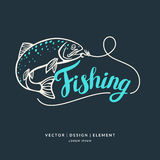 Fishing. Modern hand drawn lettering phrase. Fishing logo. Hand drawn lettering. Calligraphy brush and ink. Handwritten inscriptions and quotes for layout and Stock Photos