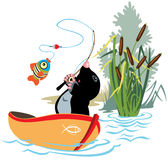 Fishing mole vector illustration