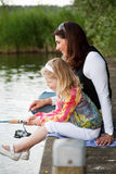 Fishing with mom Royalty Free Stock Image