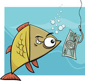 Fishing with money cartoon illustration. Cartoon Concept Humor Illustration of Funny Fish and Fishing Hook with Money Bait Stock Photos
