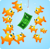 Fishing with Money. Fishing looking at Money in a hook  illustration cartoon Stock Photo