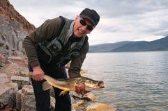 Fishing in Mongolia Stock Photo