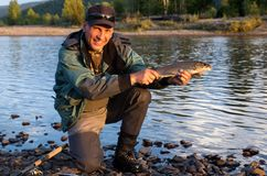Fishing in the Mongolia Royalty Free Stock Photos