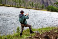 Fishing in Mongolia Royalty Free Stock Images