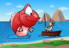 Fishing monster fish. Illustration of a fisherman on boat catch a fishing monster fish on river background Royalty Free Stock Image