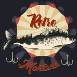 Fishing in Montana hand drawn poster Stock Photos