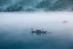 Fishing in morning Stock Photography