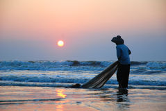 Fishing in the morning Royalty Free Stock Photography