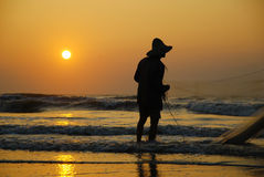 Fishing in the morning royalty free stock photos