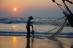 Fishing in the morning stock photography