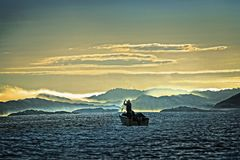 Fishing in the morning fog. stock photography