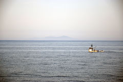 Fishing in the morning at island Vis. Fishing in the morning in the ocean Stock Photo