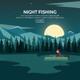 Fishing on a mountain lake. Sunset in the mountains. Night fishing. Stock Photos
