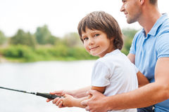 Fishing with my father. Royalty Free Stock Image