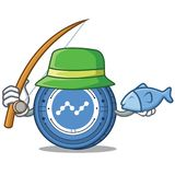Fishing Nano coin mascot cartoon. Vector illustration Stock Images