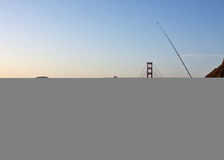Fishing near the Golden Gate Bridge Stock Photos